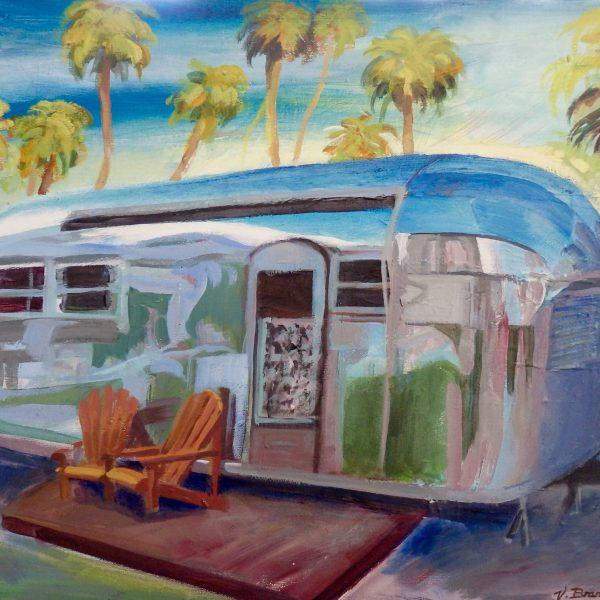 "Veronique Branger / Shiny Vintage Abode / Acrylic on canvas / 20"" x 24"" x 1.5"""